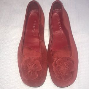 Aerosoles Red Suede / Leather Flower ll Flats